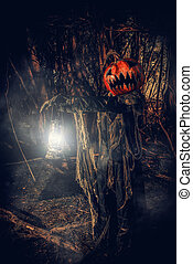 depths of a forest - Halloween character. A terrible...