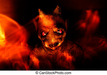 Depths of Hell - A gargoyle is surrounded by flames in an...