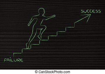 depuis, échec, à, reussite, montée homme, escalier,...
