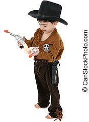 Deputy - Three year old boy dressed in cowboy, deputy...
