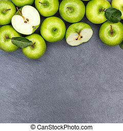 derékszögben, alma, copyspace, pala, gyümölcs, zöld alma, gyümölcs, tető kilátás