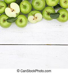 derékszögben, alma, copyspace, tető, gyümölcs, zöld alma, gyümölcs, kilátás
