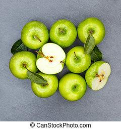 derékszögben, alma, pala, gyümölcs, zöld alma, gyümölcs, tető kilátás