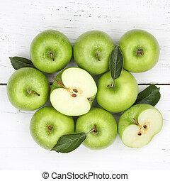 derékszögben, alma, tető, gyümölcs, zöld alma, gyümölcs, kilátás