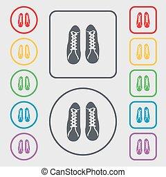 derékszögben, cégtábla., cipők, jelkép, gombok, vektor, ikon, kerek, frame.