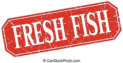 derékszögben, grunge, szüret, fish, elszigetelt, aláír, friss, piros