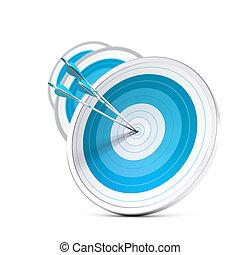derékszögben, három, egy, előny, középcsatár, először, hatás, hadászati, versenyképes, marketing, concept., elhomályosít, kép, kék, vagy, elérő, sok, nyílvesszö, céltábla, format., ügy