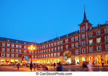 derékszögben, madrid, plaza polgármester, spanyolország, ...