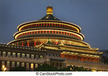 derékszögben, renmin, kína, este, sichuan, chongqing