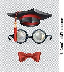 derékszögben, tie., állhatatos, szemüveg, íj, sapka, elméleti, vektor, mortarboard, 3, ikon