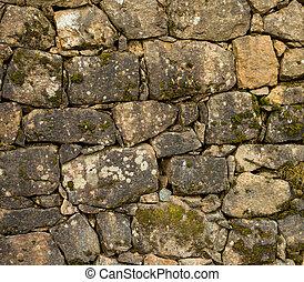 der, altes , steinmauer, bedeckt, mit, a, moos, a, hintergrund