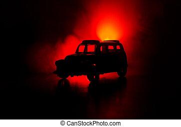 der, auto, in, der, schatten, mit, glühen, lichter, in, niedrig, licht, oder, silhouette, von, sport, auto, dunkel, hintergrund.
