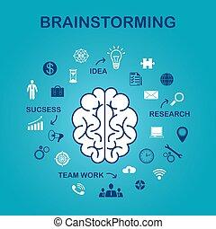 der, begriff, von, brainstorming