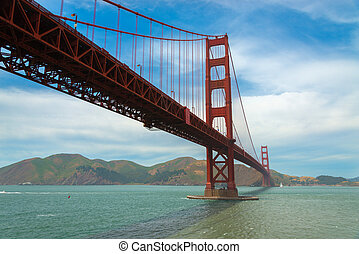 der, berühmt, goldene torbrücke, in, san francisco, kalifornien