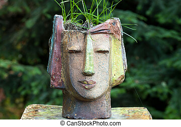 Weiblich Kopf Blumentopf Form