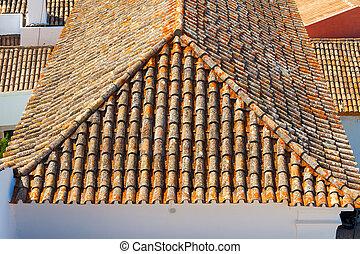 der, dach, mit, fliesenmuster, in, a, sonniger tag