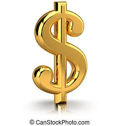 der, dollarzeichen, symbolizing, der, finanziell, tätigkeiten, freigestellt, auf, a, weißer hintergrund
