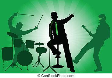 der, drei, musiker, bühne, -, a, concert, grüner hintergrund