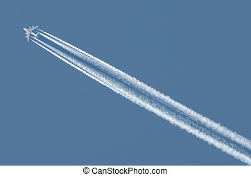 der, flug, von, der, flugzeug, in, der, sky.