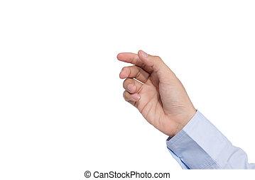 der, gebärde, von, a, hand holding, weiß, hintergrund, freigestellt