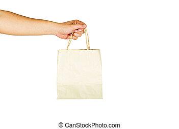 der, gebärde, von, hände, gleichfalls, besitz, papier, tasche, auf, a, weißes, background.clipping, pfad, innenseite.