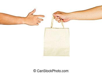 der, gebärde, von, hände, gleichfalls, besitz, papier, tasche, auf, a, weißes, hintergrund.