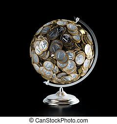 der, geldmünzen, erdball, begrifflich, bild