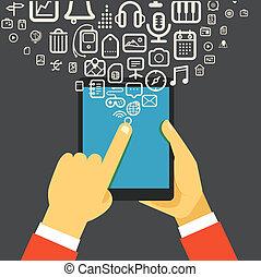 der, geschäftsmann, besitz, modern, digital tablette,...