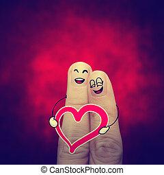 der, glücklich, weinlese, finger, paar, liebe, mit, gemalt,...