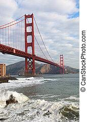 der, goldene torbrücke, in, san francisco, kalifornien