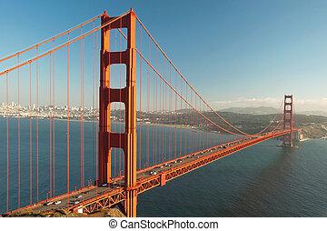der, goldene torbrücke, in, san francisco, während, der, sonnenuntergang