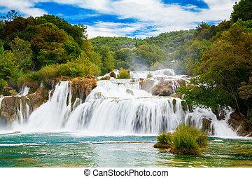 der, größten, wasserfall, in, krka, nationalpark