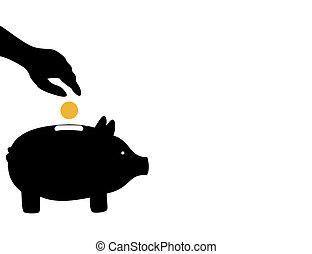 der, hand, würfe, a, muenze, in, a, pig-coin, box., a,...