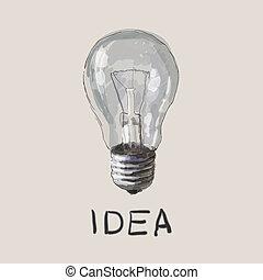 der, idea., der, concept., vektor, zeichnung