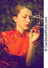 der, japanisches , in, a, roter kimono