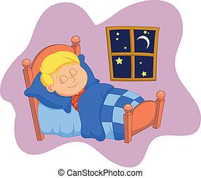 der, junge, karikatur, euch, schlafend, bett