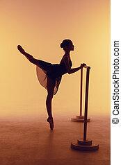 der, junger, ballerina, dehnen, auf, der, bar