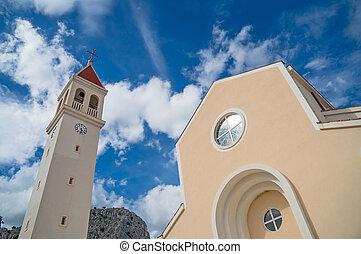 der, kirche, von, str., petra, in, omis, croatia.