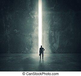 der, licht, von, der, geöffnete tür
