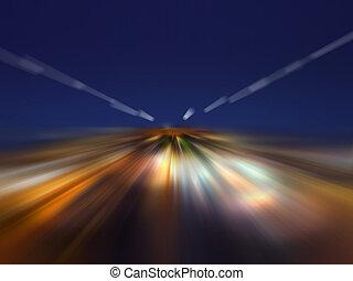 der, lichtgeschwindigkeit, in, der, nacht