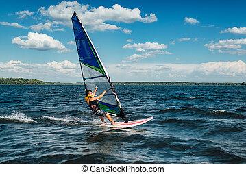 der, mann, athlet, reitet, der, windsurfen, aus, der,...