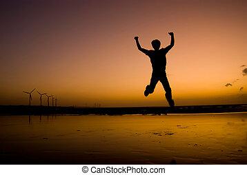 der, mann, aufgeregt, springen, strand, unter, sonnenuntergang