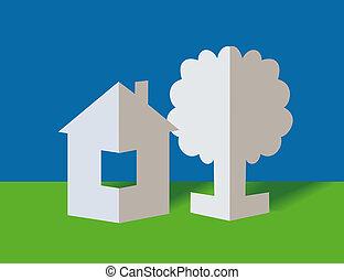 Der, Papier, Haus, Und, Baum