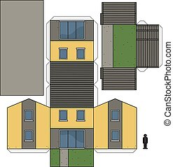 Der, Papier, Modell Hauses