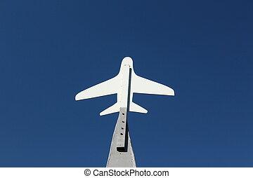 der, plan, von, motorflugzeug, auf, der, blauer himmel