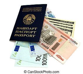 der, reisepaß, und, geld