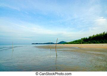 der, sandstrand, mit, a, blaues, sky.