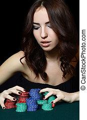 der, schöne frau, mit, kasino raspelt