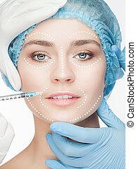 der, schöne frau, vorher, plastische chirurgie, betrieb, von, kosmetologie