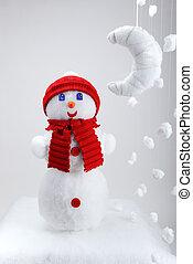 der, schneemann, künstlich, mond, und, schneeflocken